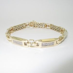 Other - Men's 14K Gold 8.24 ctw Diamond Bracelet 9.5""
